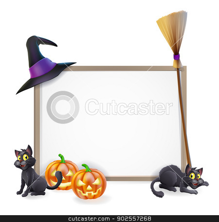 Halloween sign stock vector clipart, Halloween sign with witches hat, Halloween pumpkin, witches black cat and broom stick and blank sign for your text by Christos Georghiou