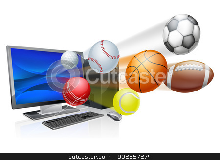 Sports computer app concept stock vector clipart, Sports computer app concept, an illustration of a pc computer with sports balls flying out of the screen by Christos Georghiou