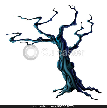Spooky Halloween Tree stock vector clipart, An illustration of a bare spooky scary Halloween tree  by Christos Georghiou