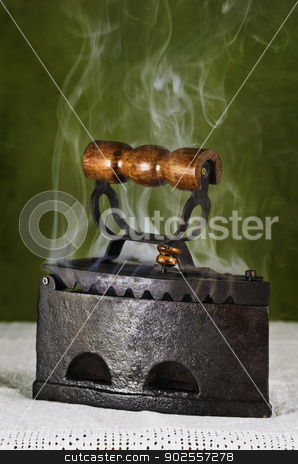 Hot Retro Iron  stock photo, Hot Retro Iron On The Canvas by Sergej Razvodovskij