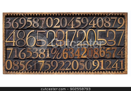 wood type numbers in a box stock photo, box of numbers - numerical abstract - a variety of letterpress wood type printing blocks by Marek Uliasz