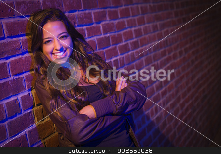 Pretty Mixed Race Young Adult Woman Against a Brick Wall stock photo, Portrait of a Pretty Mixed Race Young Adult Woman Against a Brick Wall Background. by Andy Dean