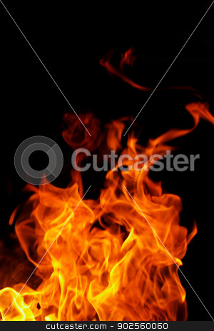 fire on black background stock photo, red flames of fire as red black backgorund by Jozsef Demeter