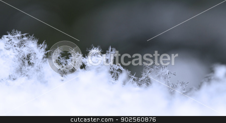 Snowflake in blue snow stock photo, Close up, macro of snow with crystals in good view by Nneirda