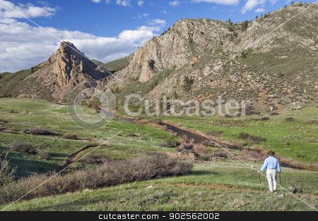 lonely hiker in mountain landscape stock photo, lonely hiker conteplating mountain vista  in springtime- Eagle Nest Open Space near Fort Collins, Colorado by Marek Uliasz