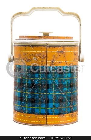 Antique ice bucket stock photo, Antique ice bucket on white background by Niphon Chanthana