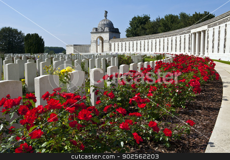 Tyne Cot Cemetery in Ypres stock photo, Tyne Cot Cemetery in Ypres, Belgium.  Tyne Cot Commonwealth War Graves Cemetery and Memorial to the Missing is a Commonwealth War Graves Commission (CWGC) burial ground for the dead of the First World War in the Ypres Salient on the Western Front. by Chris Dorney