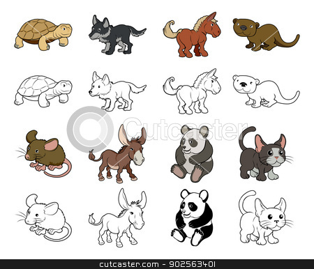 Cartoon Animal Illustrations stock vector clipart, A set of cartoon animal illustrations. Color and black an white outline versions. by Christos Georghiou