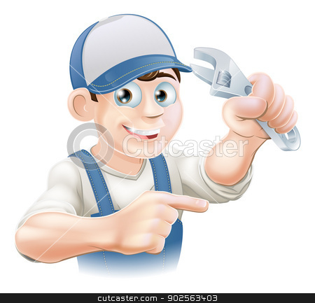 Mechanic or Plumber Illustration stock vector clipart, An illustration of a cartoon mechanic or plumber with an adjustable wrench or spanner by Christos Georghiou