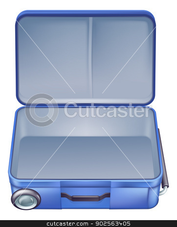 Empty suitcase illustration stock vector clipart, An illustration of an empty suitcase ready to b packed for a summer holiday or vacation  by Christos Georghiou