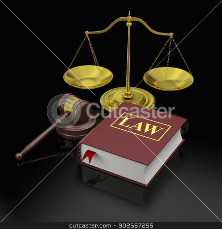 Law symbols stock photo, Gavel, scale and law book, symbols of law and justice by Harvepino
