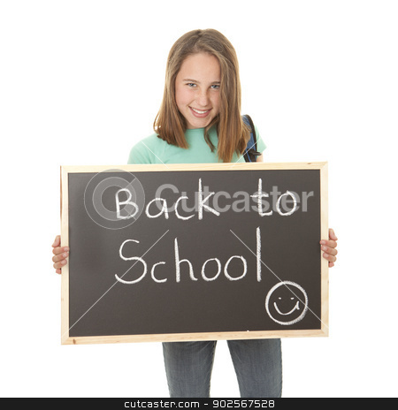 back to school student stock photo, student holding back to school blackboard by mandygodbehear
