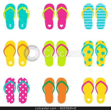 Summer flip flops set isolated on white stock vector clipart, Colorful summer flip flops collection isolated on white. Vector by Jana Guothova