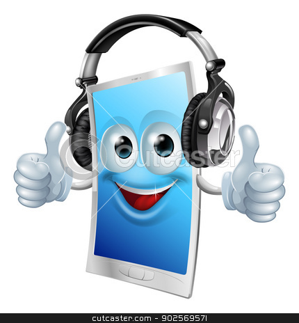 Headphones phone man stock vector clipart, A drawing of a cartoon smiling headphones phone man by Christos Georghiou