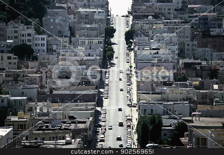 San Francisco, California stock photo, A street winding up a steep hill - San Francisco, California by Anthony Dezenzio