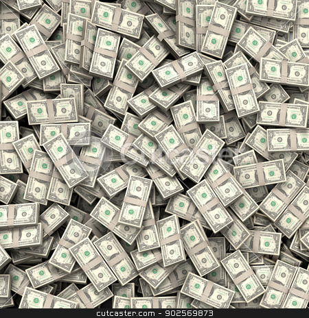 Money bills background stock photo, Hundreds of packs of money bills by Pedro Campos
