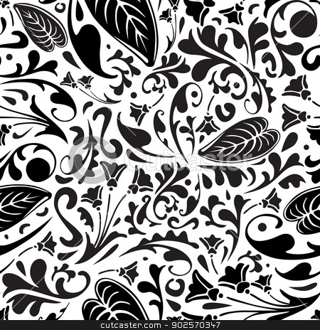 Flower Pattern Black And White Vector