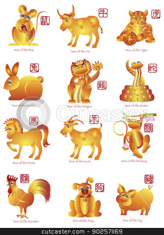 Chinese Twelve Zodiac Animals Illustration stock photo, Chinese New Year Twelve Zodiac Horoscope Animals Illustration with Chinese Seal Text by Jit Lim