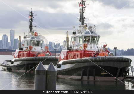 Tug Boats at Vancouver BC Harbor stock photo, Tug Boats for Container Ships at Port of Vancouver BC Harbor by Jit Lim