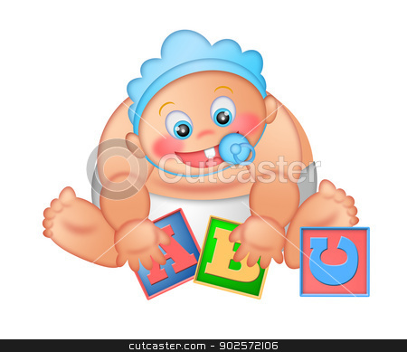 Baby Boy Playing with Alphabet Blocks stock photo, Baby Boy Playing WIth Alphabet Letter Blocks Isolated on White Background Illustration by Jit Lim