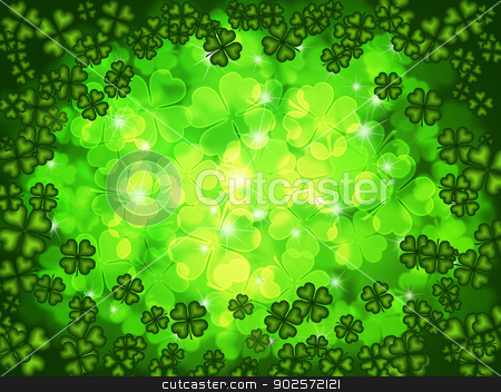 Shamrock Four Leaf Clover Background stock photo, St Patricks Day Four Leaf Clover Shamrock with Blurred Background by Jit Lim