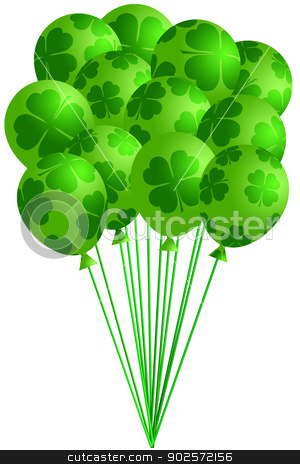 Bunch of Irish Green Balloons with Shamrocks stock photo, St Patricks Day Bunch of Irish Green Balloons with Shamrocks Four Leaf Clover Illustration by Jit Lim