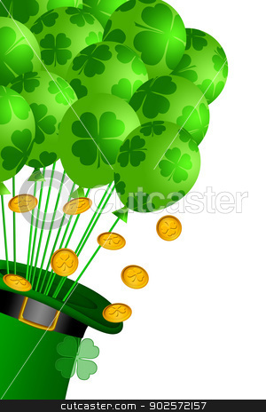Leprechaun Hat with Shamrock Balloons and Gold Coins stock photo, St Patricks Day Leprechaun Hat with Shamrock Balloons and Gold Coins Illustration by Jit Lim