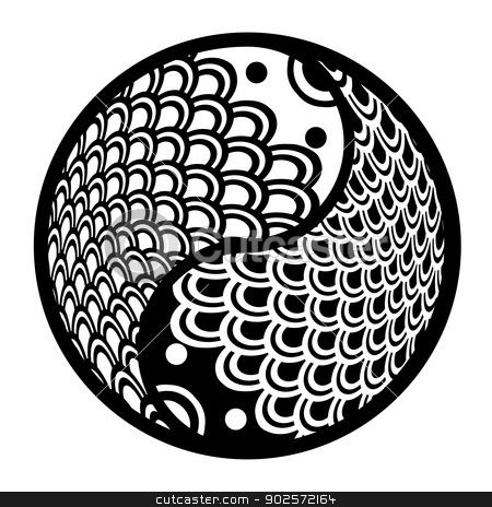 Chinese Pair of Fish in Yin Yang Circle Illustration stock photo, Chinese Pair of Fish in Yin Yang Eternity Circle Illustration Black and White Clip Art by Jit Lim