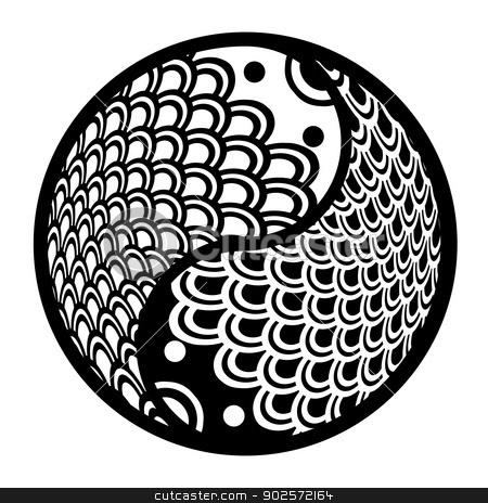Chinese Pair of Fish in Yin Yang Circle Illustration stock photo, Chinese Pair of Fish in Yin Yang Eternity Circle Illustration Black and White Clip Art by Jit Lim