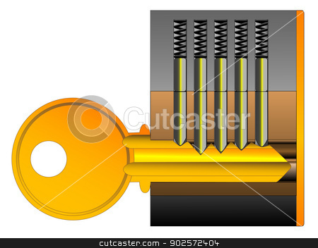 Lock and Key stock vector clipart, A cutaway drawing of a lock and key mechanism isolated over white. by Kotto