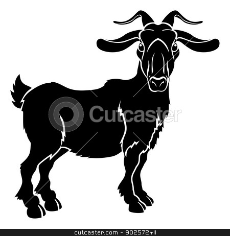 Stylised goat illustration stock vector clipart, An illustration of a stylised goat or ram perhaps a goat tattoo by Christos Georghiou