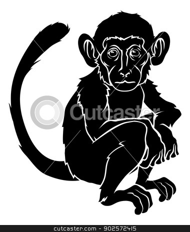 Stylised monkey illustration stock vector clipart, An illustration of a stylised monkey perhaps a monkey tattoo by Christos Georghiou