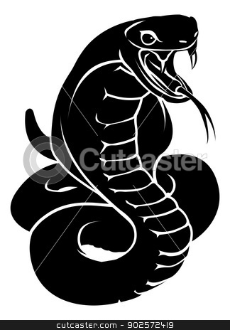 Stylised snake illustration stock vector clipart, An illustration of a stylised snake or cobra perhaps a snake tattoo by Christos Georghiou