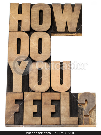 how do you feel question stock photo, how do you feel question - isolated tex in vintage letterpress wood type by Marek Uliasz
