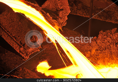 Pouring of liquid metal  stock photo, Pouring of liquid metal in open hearth workshop by Iordache Magdalena