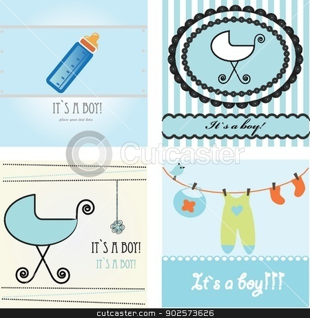 Set baby boy announcement card. stock photo, Set baby boy announcement card. vector illustration by Maria Cherevan