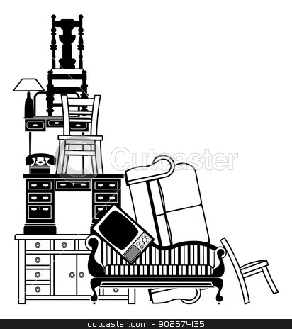 Stack of furniture stock vector clipart, An illustration of a stack of furniture and other household goods. Could be used for house clearance or moving themes or home insurance related. by Christos Georghiou