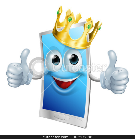 Mobile phone cartoon king stock vector clipart, Illustration of a mobile phone king character wearing a gold crown and giving a double thumbs up by Christos Georghiou