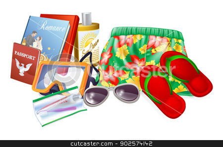 Holiday essentials stock vector clipart, Holiday essentials illustrations. Important thing to pack for a summer holiday, vacation or trip. Includes sun cream, sunglasses, reading material, toiletries, sandals and passport by Christos Georghiou