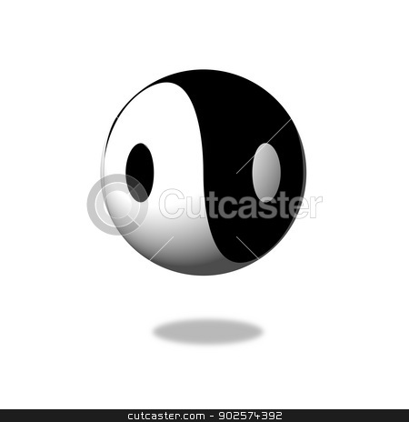 Yin Yang stock photo, Yin Yang Day Night opposite or contrary forces by Henrik Lehnerer