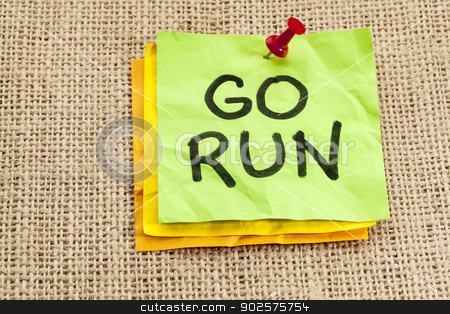 go run reminder stock photo, go run reminder or fitness concept - handwriting on green sticky note by Marek Uliasz