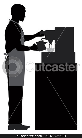 Male Coffee Barista Illustration stock vector clipart, Male Coffee Barista Silhouette Making Espresso and Steaming Milk with Espresso Machine Illustration by Jit Lim