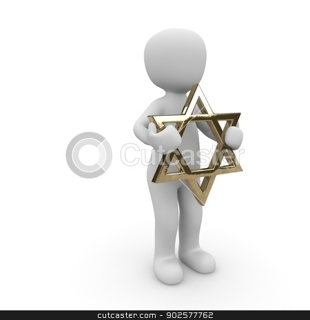 david star stock photo, A Jewish character holds the star of david in his two hands. by visualtektur
