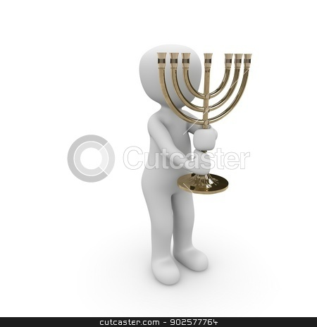 candlestick stock photo, A Jew holds the seven branch candlestick in hands were. by visualtektur
