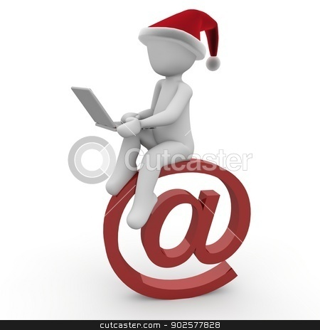 Christmas mail stock photo, A character writes his friends many emails for christmas. by visualtektur