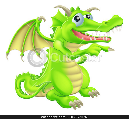 Cartoon Dragon Mascot Pointing stock vector clipart, An illustration of a cute cartoon dragon mascot standing and pointing by Christos Georghiou