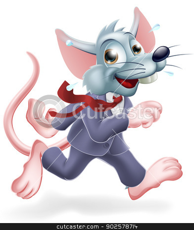 Business rat race concept stock vector clipart, Conceptual illustration of business rat race. A cartoon rat worker wearing a business suit rushing around, concept for work life balance or working lifestyle. by Christos Georghiou