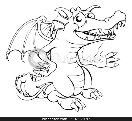 Happy cartoon dragon stock vector clipart, Black and white illustration of a happy cartoon dragon by Christos Georghiou