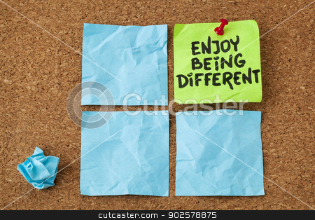 enjoy being different stock photo, enjoy being different advice - lifestyle or nonconformist concept - handwriting on colorful sticky notes by Marek Uliasz
