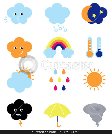Weather cast cute elements set isolated on white stock vector clipart, Weather elements collection. Vector Illustration by BEEANDGLOW
